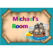 Personalised Childrens Pirate Ship Bedroom Nursery Door Sign