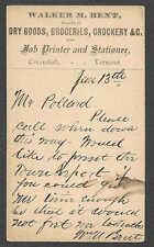 Ca 1874 PC CAVENDISH VT WALKER H BENT DEALER IN DRY GOODS GROCERIES PRINTING ETC