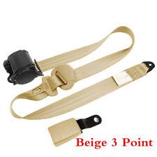 Beige 3 Point Seat Belt Lap & Diagonal Safety Belt Seatbelts Curved Rigid Buckle
