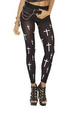 Leggings with Printed Cross Design Pattern Nylons Footless Costume 1797