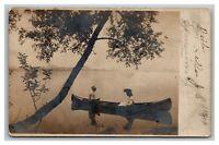 Vintage 1905 RPPC Postcard - Couple in Canoe on Lake in Savanna Illinois
