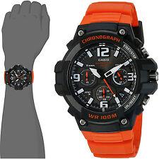 Casio MCW100H-4A Mens Analog Watch Heavy Duty Orange 100M WR Chronograph New