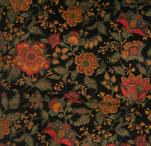 "Vintage Jacobean Floral on Black Corduroy Fabric Narrow Wale 43"" X 1 Yard"