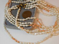 "Vintage 3 strand white Biwa Rice Pearl Peach Coral Bead 24"" Long Necklace 7g 91"