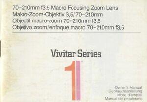 Vivitar Series I 70-210mm F3.5 Macro Focusing Zoom Lens Instruction Manual