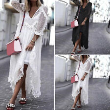 Women Summer Sexy See Through Long Dress Dot Loose Outside Cover Up Sundress