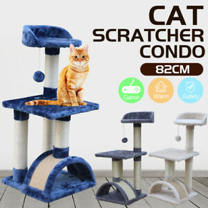 Pet Cat Tree Trees Scratching Post Scratcher House Furniture Wood Tower Cats Toy
