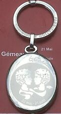 French 1970s Keyring~Gemini Zodiac Sign ~Silver Metal~ Made In France ~Deadstock