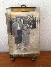 Ancien  cadre à photo verre biseauté monture bronze LAITON ?