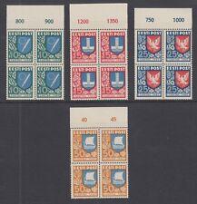 Estonia Sc B46-B49 MNH. 1940 Coat of Arms, matched sheet margin blocks of 4, VF