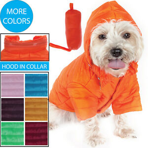 Adjustable Lightweight Folding 'Avalanche' Pet Dog Coat Jacket w/ Built-in Hood