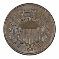 1864 Two Cent Piece Large Motto Mint State Condition