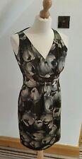 HOBBS ~  Black and Grey Silk Floral Patterned Dress  ~  UK 8 ~ Worn Once