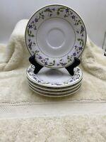 "MSE Martha Stewart Everyday Purple Flowers Set Of 4 Dessert Plates 6.75"""