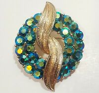VINTAGE Designer Signed CORO AB Teal Green Rhinestone Peacock  Leaf Brooch Pin