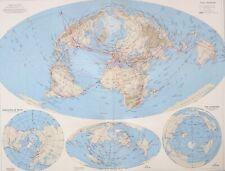 1958 LARGE MAP WORLD AIR ROUTES NORTH POLAR BASIN PACIFIC OCEAN ANTIPODES