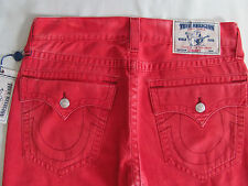 True Religion Straight Jeans With Flaps - Cadium Coating Red - Size 33 NWT- $282