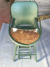 Ancienne chaise en bois haute bébé art pop vintage french antique baby chair