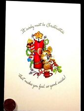 Vintage Mouse Mice Candle Ribbon Cheese Embossed Christmas Greeting Card Unused