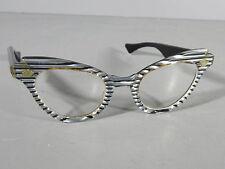 VINTAGE 1950s Black/Silver Lucite Cat Eye Glasses LUMAR 982 44-22 Eyeglasses