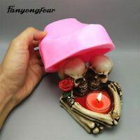 3D Skull Chocolate Candy Candle Ashtray Silicone Gypsum Fondant Cake Resin Mold