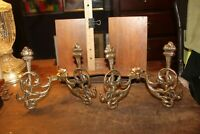 Antique Pair Coat Hooks Gilt Finish Neo-Classical Torches Architectural Salvage