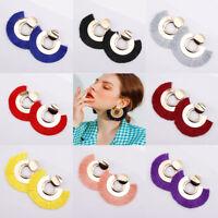 Fashion Women Dangle Long Tassel Bohemian Thread Drop Ear Stud Earrings Jewelry