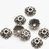 100Pcs Loose Spacer Bead Silver Flower Jewelry Making Craft DIY Art 8x3mm Beads