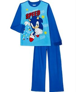 SONIC The Hedgehog Pajamas 4 5 6 7 8 10 12 Child 2Pc Flannel Set New Sleepwear