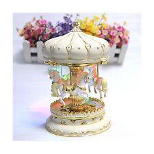 LIWUYOU Merry-Go-Round Music Box Carousel Horse Luxury Large Color Change LED.