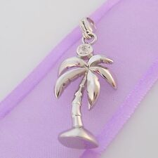 STERLING SILVER PALM TREE DIAMOND CLIP ON CHARM