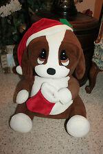 "Large 19"" SAD SAM Plush Dog DANDEE Holiday Christmas Stocking & Hat Brown D1"