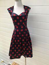 REVIEW Navy Blue & Red Polka Dot Fit & Flare 50s Style Dress Tulle Underskirt- 6