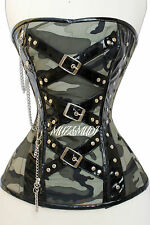 Green Camouflage,Real Steel Bones, Laceup Back,Full Bust Chain Corset, 2XS~7XL