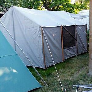 Vintage Camplete Canvas Cabin Tent 13 X 10 excellent Condition