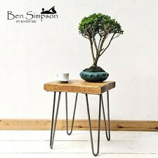 Rustic Industrial Side Table Metal Hairpin Legs BEN SIMPSON FURNITURE