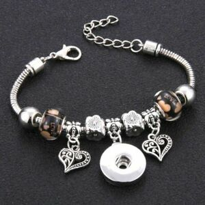 Snap Button Bracelet Buckle Snake Chain Bangles Beaded Fit 18mm Jewelry Ginger