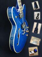 "Haze SEG-272TBL Teal-Blue Semi-Hollow Body,""F"" Holes Electric Guitar + Free Bag"