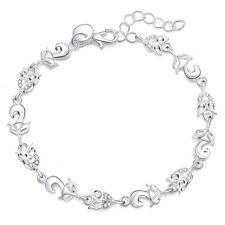 Silver Plated 925 Owl Fox Animal Cute Pet Crystal CZ Chain Bracelet Bangle. GIFT