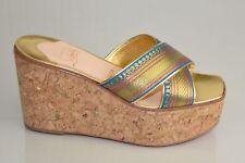 Nuevo Christian Louboutin Maichor Corcho Wedge Deslizar Oro Azul Brocado Zapatos