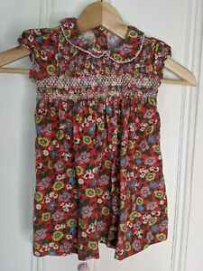Cath Kids needlecord dress Age 6-12m Cath Kidston Red floral peter pan collar
