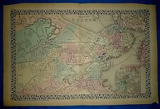 Vintage 1876 Atlas Map ~ BOSTON, MASSACHUSETTS ~ Old Antique Original ~ Free S&H