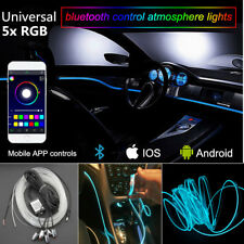 5in1 RGB LED 6M Car Interior Decor Neon EL Strip Light Bluetooth App Control 12V