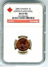 2004 CANADA CENT NGC MS67 RD MAGNETIC COPPER PLATED STEEL HIGH GRADE SUPER RARE