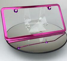 New Slim Hot Pink License Plate Frame 2 Holes w/ Aluminum Circle Type Screw Caps