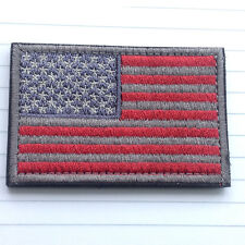 AMERICAN USA FLAG EMBROIDERED MORALE HOOK PATCH MILITARY TACTICAL RED ACU GRAY