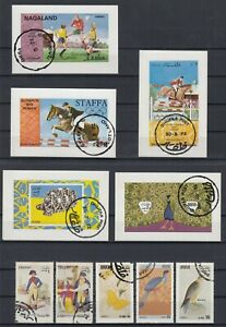 Nagaland, Dhufar, Staffa ☀ 5 used blocks & 5 used stamps ☀ see scan / Cinderella