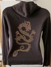 SILK CASHMERE KNIT Romeo & Juliet Couture DRAGON Emblazoned Zip Hoodie Sweater