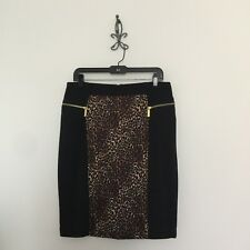 Michael Kors Animal Print Zip Pockets Stretch Pencil Skirt Size 10