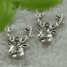 free ship 90 pcs tibet silver deer head charms 25x22mm #3295